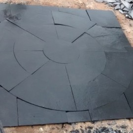Dia 2.70 Mtrs Circle Set Black Limestone With Squaring Off Kit