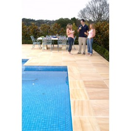600 MSP, 19.50 m2 Teakwood Smooth Sawn Sandstone Paving Slabs