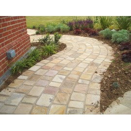 150×150 Pack 23.04 m2 Mint Fossil 22mm Calibrated Sandstone Paving / Cobbles Setts