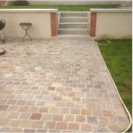 150×150 Pack 23.04 m2 Raj Green 22mm Calibrated Sandstone Paving / Cobbles Setts