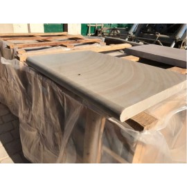 Santa Fee 600×400 mm Smooth Sandstone Bullnose Coping for Pool, Stair, Balcony