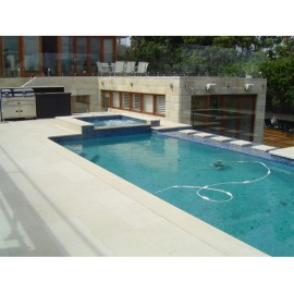 Ivory 600×400 mm Smooth Sandstone Bullnose Coping for Pool, Stair, Balcony