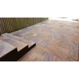 600 MSP, 22.11 m2 Rainbow Smooth Sawn Sandstone Paving