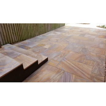 600 MSP, 22.11 m2 Rainbow Smooth Sawn Sandstone Paving
